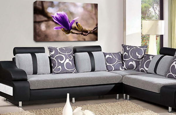 Floral Flower Wall Art Picture Grey Purple Spring Print